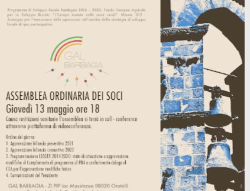 CONVOCATA L'ASSEMBLEA ORDINARIA DEI SOCI: 13 MAGGIO ORE 18