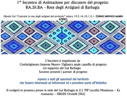 1° Incontro di Animazione per discutere del progetto RA.Di.BA – Rete degli Artigiani di Barbagia
